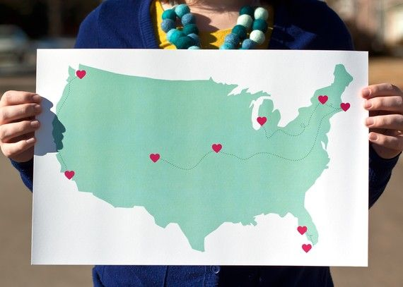 you can customize this with any locations you like-- I want one with all of my roadtrips mapped out!!