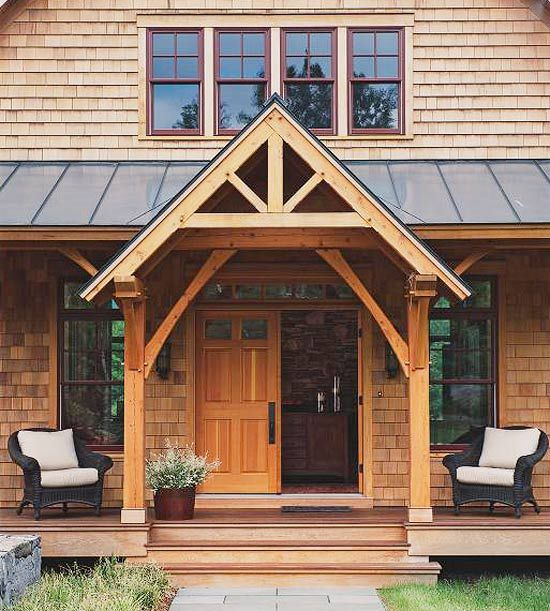Protect Visitors-Add a roof or awning over the front door to keep rain or sun off visitors while they ring the bell (and off you while you fish for your keys). Give the space a sense of warmth and comfort by placing a piece or two of weather-resistant furniture near the entry
