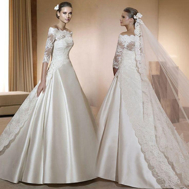 Free Shipping Elegant 2014 edition sexy royal train wedding dress slit neckline lace long-sleeve wedding dress Formal Dress