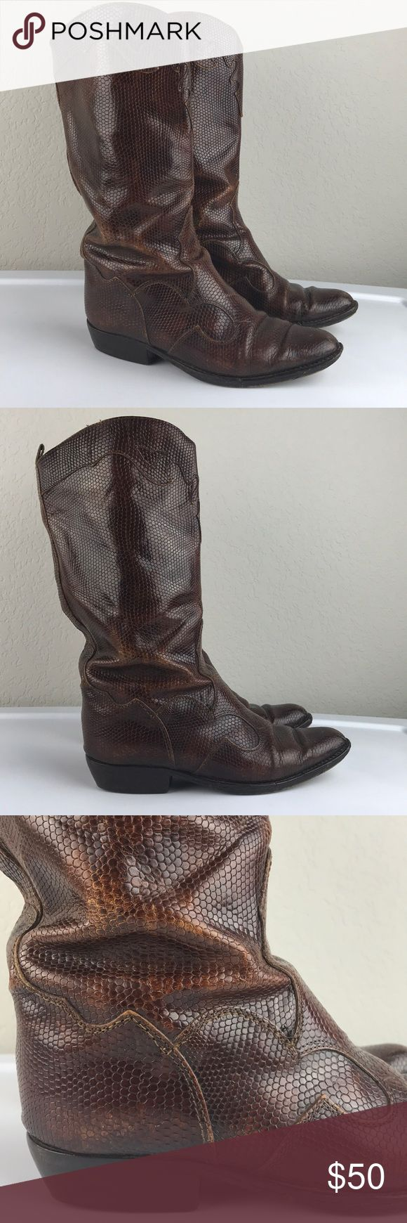 Joan & David Italian leather brown cowboy boots Joan & David gorgeous warm brown Italian leather streamlined western style cowboy boot with textured leather and swirled detail. Italian cowboy boots are amazing for when you want to look a little tough, but ready for the city rather than the ranch. Great used condition, leather soles have wear and heels have some wear. Fit like a 6/6.5 Joan & David Shoes Heeled Boots
