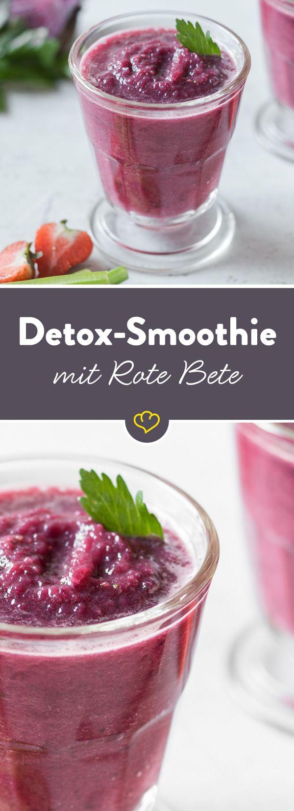 Dieser Rote Bete-Smoothie ist eine echte Vitaminbombe. Und in Kombination mit Apfel, Zitrone und Erdbeere schmeckt er gleich doppelt so gut.