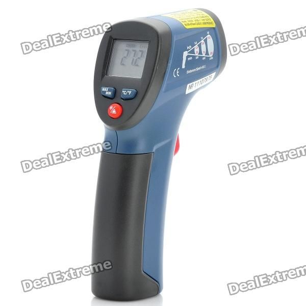 "Color: Gray + red + blue - Model: DT-811 - ABS material - 0.9"" LCD display screen - Measuring range: -30 ~380C; -22~716F - Resolution: 0.1C/F - Accuracy: ±4C/±7F(-30~0C/-22~32F) - Accuracy: ±2% of reading or ±2C/±4F(0~380C/32~716F) - Optical resolution: 8:1 - Emissivity: 0.95 - Response time: < 1S - Diode laser: output http://j.mp/1lkudbh"