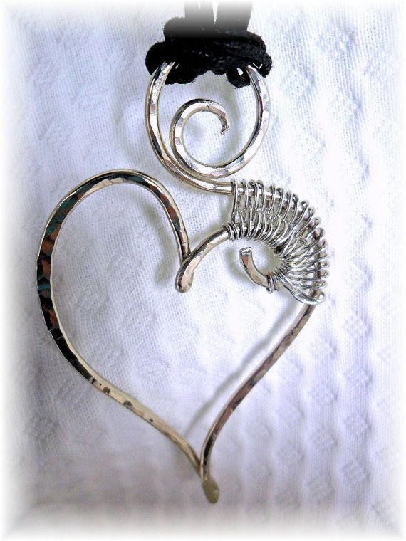 Wire Heart Pendant forged and woven