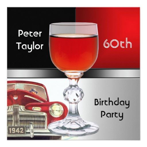 Red Metal Silver Red Car Mens 60th Birthday Man