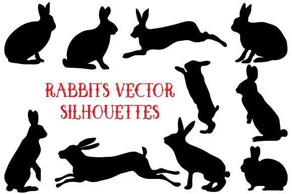 Rabbit vector silhouettes set by Orangepencil on @creativemarket