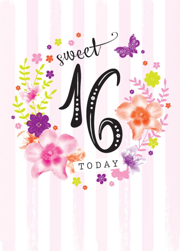 Debbie Edwards - Age Birthday Milestone Big Number 16 16th In Floral Wreath
