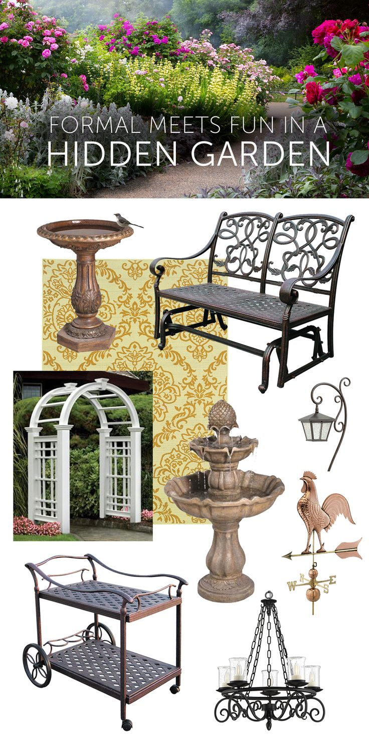 To make a hidden outdoor room, start with elements that create privacy: arbors woven with vines, walls of hedges and beds of towering flowers. Add decorative outdoor carpets and furniture. Include a rug featuring a traditional damask pattern with furniture composed of whimsical scrollwork. Complete the feeling of refuge and intimacy with partially hidden bird baths, weathervanes, and fountains.