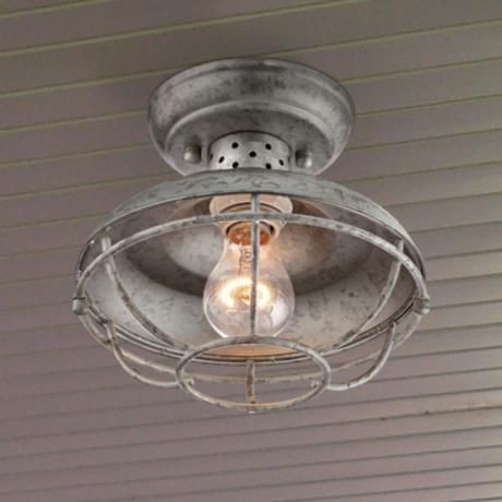 "Franklin Park 8 1/2"" Wide Galvanized Outdoor Ceiling Light - #4F505 | LampsPlus.com"