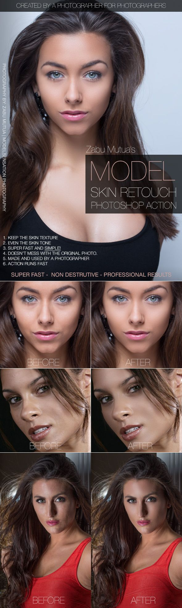 Model Skin Retouch Photoshop Action #photoeffect Download: http://graphicriver.net/item/model-skin-retouch/10628342?ref=ksioks