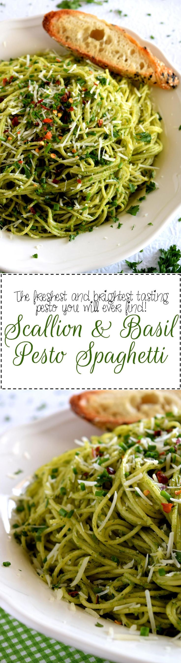 Scallion and Basil Pesto Spaghetti - Crisp, summery, onion flavour with a fresh basil and lemon undertone – Scallion and Basil Pesto Spaghetti is bound to be your new favourite pasta!  Simple ingredients, quick and easy to prepare, this pesto fits into any dietary preference and is bursting with flavour!