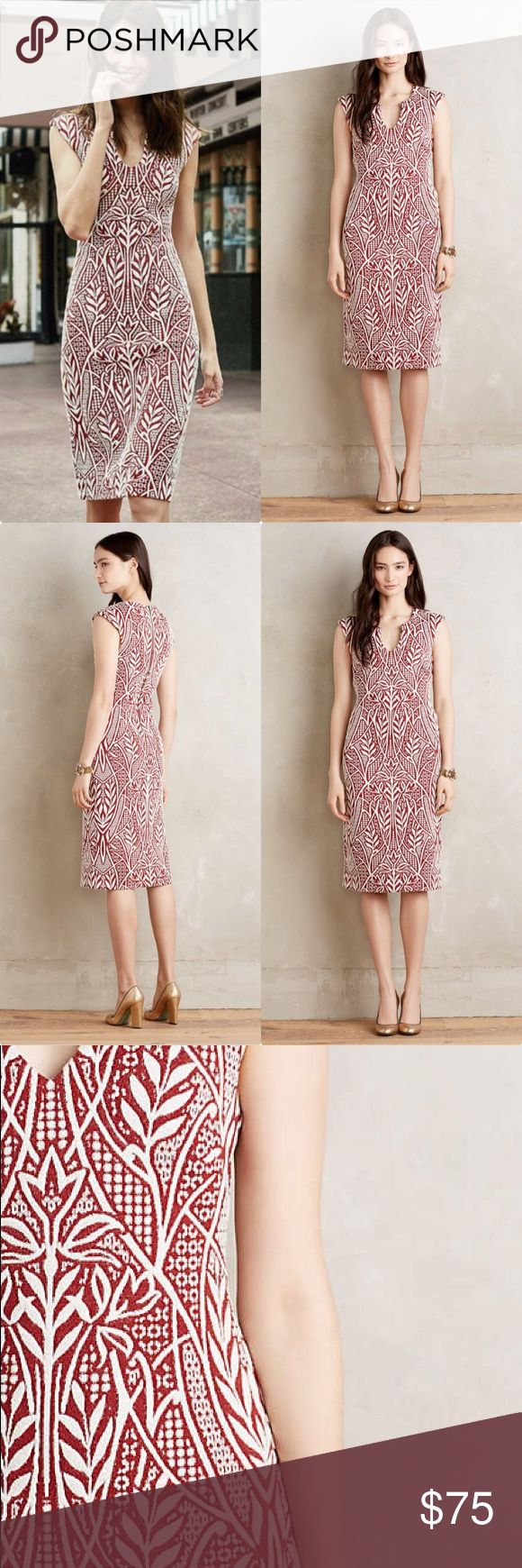 """Anthropologie Picotage Sheath HD in Paris Picotage Sheath by HD in Paris Anthropologie ❤️ Polyester, cotton, spandex jacquard Slim silhouette Back zip Machine wash Imported Dimensions Bust 17"""" waist 16"""" approx hip 21.5"""" approx  Regular falls 43"""" from shoulder EUC Worn once Anthropologie Dresses"""
