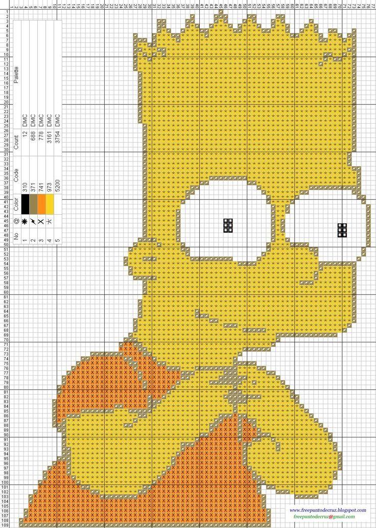 Bart+Simpson+-+Cross+Stitch+Punto+de+cruz.jpg (1107×1555)
