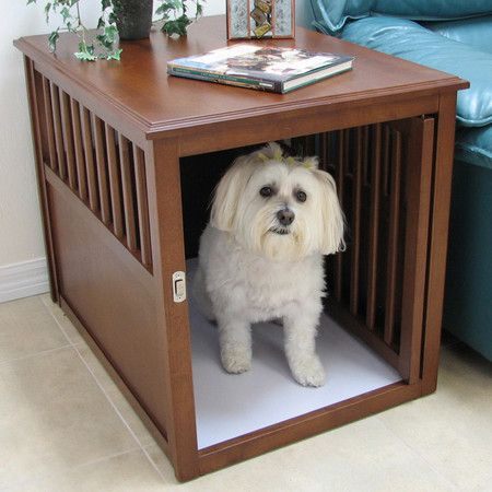 Pet crate doubles as a side table. Sweet!