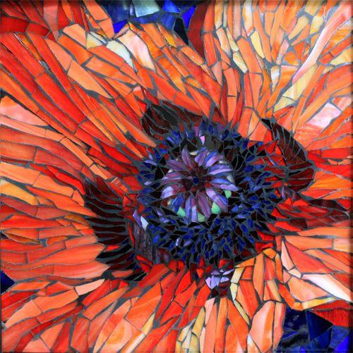 """14"""" x 14"""" Orange Poppy  http://www.showcasemosaics.com/small-works.html"""