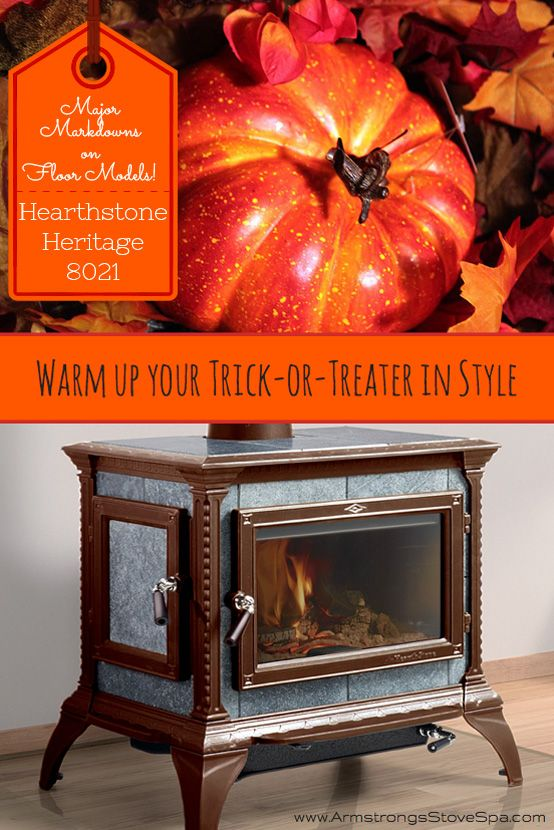 Warm your trick-or-treater up in style with the beautiful Hearthstone Heritage 8021. Get the beauty and long lasting radiant heat of soapstone with the convenience of Front AND Side loading! Heats up to 1900 sq. ft.