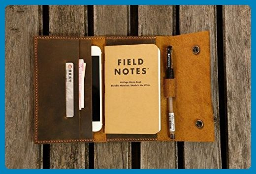 Leather travel journal wallet leather notebook wallet for pocket size field notes leather moleskine wallet cover iPhone 6 6s /6 Plus wallet FA605CDB - Honeymoon travel accessories (*Amazon Partner-Link)
