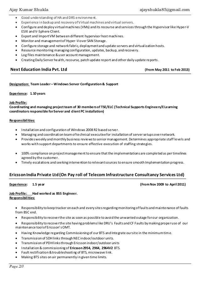 Vmware Administrator Resume Sample Server Resume Resume Download Resume