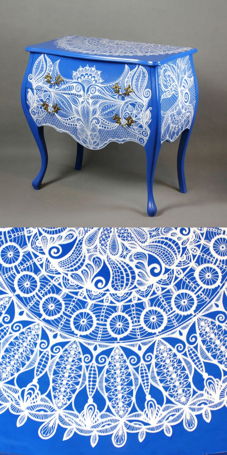 Hand-painted chest of drawers Frivolite Lace chest of drawers