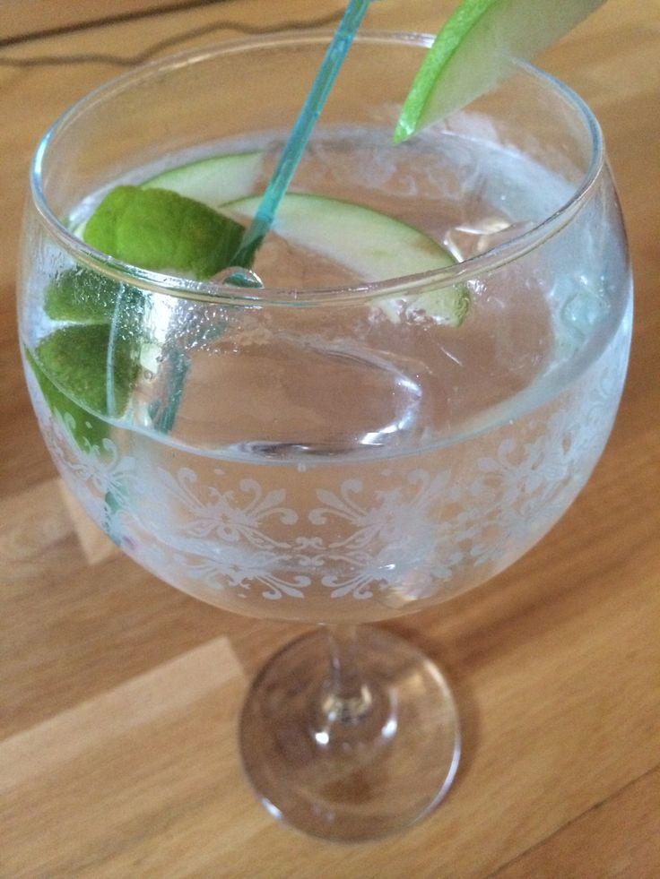 GinTonic de Willians Great British Extra Dry Gin con schwppes original. Botánicos manzana verde y twits de Lima.
