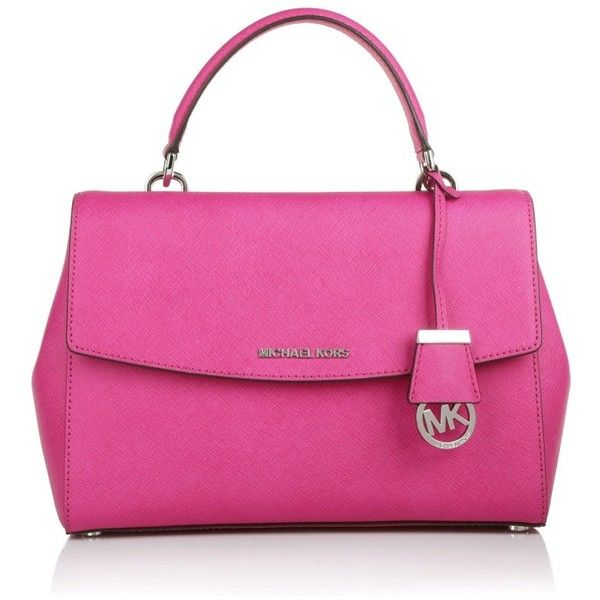 Michael Kors Handle Bags, MICHAEL Ava MD TH Satchel Raspberry Handbag ($285) ❤ liked on Polyvore featuring bags, handbags, tote bags, magenta, pink purse, michael kors satchel, handbags totes, purse tote and man bag