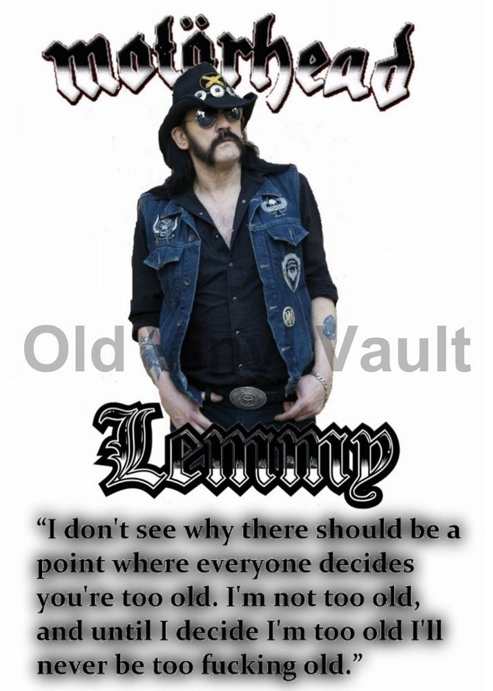 "Lemmy Kilmister Poster With Inspirational Quote ""NEW"" 
