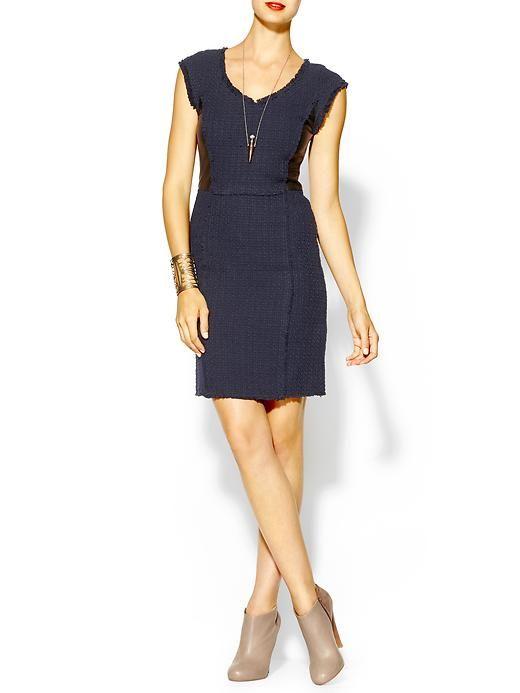 Rebecca Taylor Tweed & Leather Shift Dress