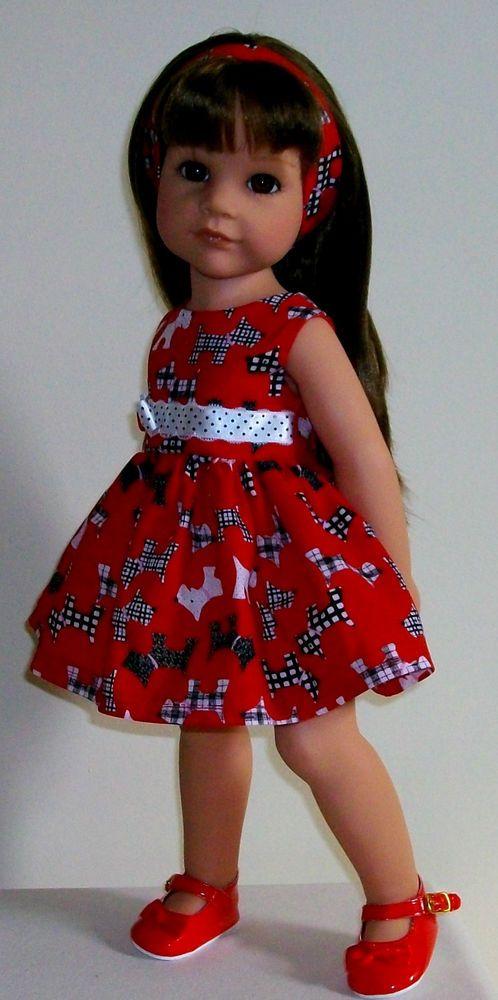 "Scottie dog dress alice band fits 18-20"" Dolls Designafriend/Gotz hannah"