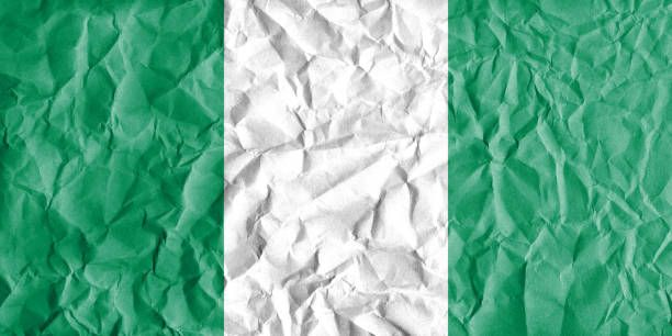flag of nigeria with vintage old paper