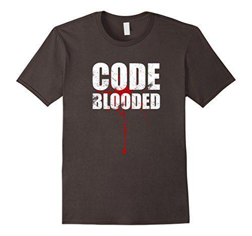 Men's Code Blooded T-Shirt 2XL Asphalt BinaryTeez…
