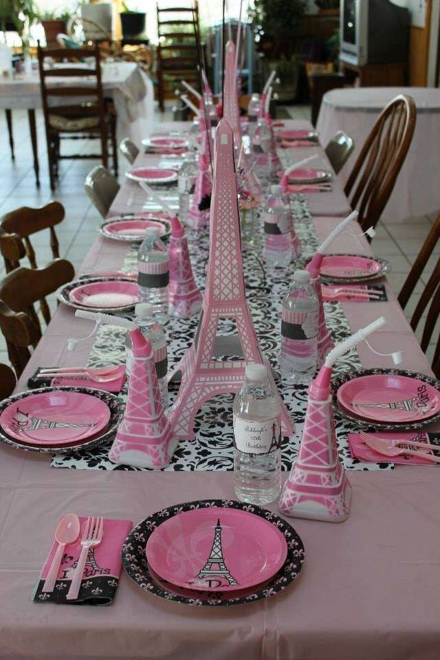 Pretty pink place settings at a Paris birthday party! See more party planning ideas at CatchMyParty.com!