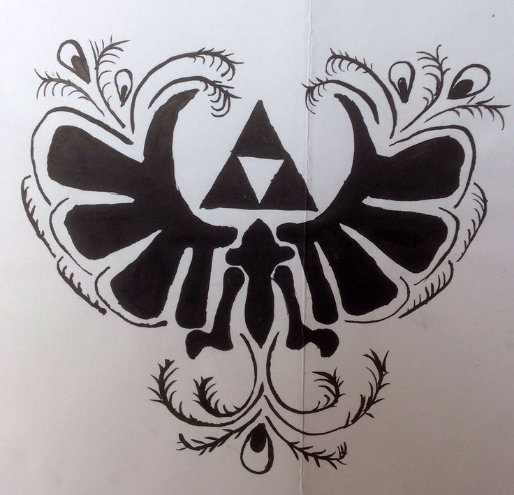 Zelda skyword sword logo with personal touch (chinees ink drawing) made by Cinziartist