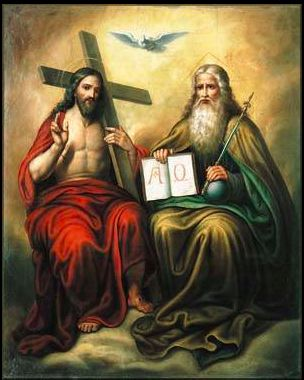 I believe that this picture is a good example of the Trinity. It shows God the father, God the son and God the spirit clearly. It also describes God the father as a creator and ruler. It shows God the Son as redeemer.
