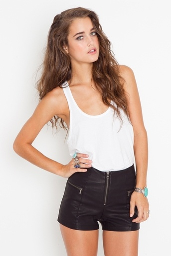 faux leather high waisted shorts