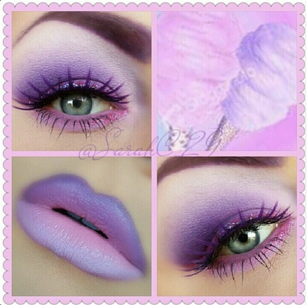 Lavender cotton candy inspired eyeshadow & lips.