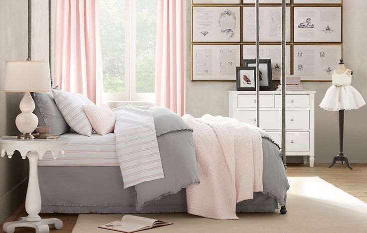 Pale shades of pink and grey and the ruffle details on the bedding - to die for!!