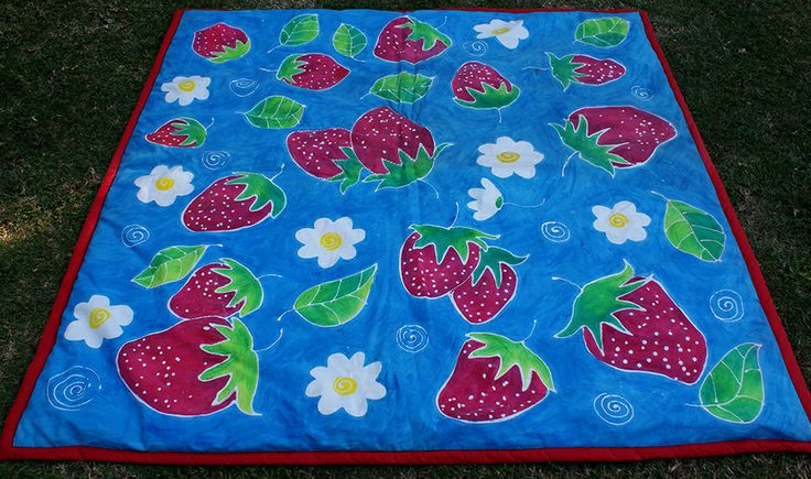 Hand Painted Strawberry Picnic Mat/Quilt facebook.com/totemteepee