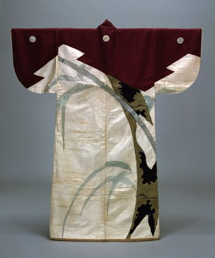 """"""" Kosode c.1610 """" According to an attached document, Ieyasu gave this to the head of the Sagi school of Kyogen (Noh farce) in 1610. Since there is a record that Ieyasu loved Kyogen and performed it himself, some claim that this kosode could have been made specifically for Noh performance. (Tokyo National Museum)"""