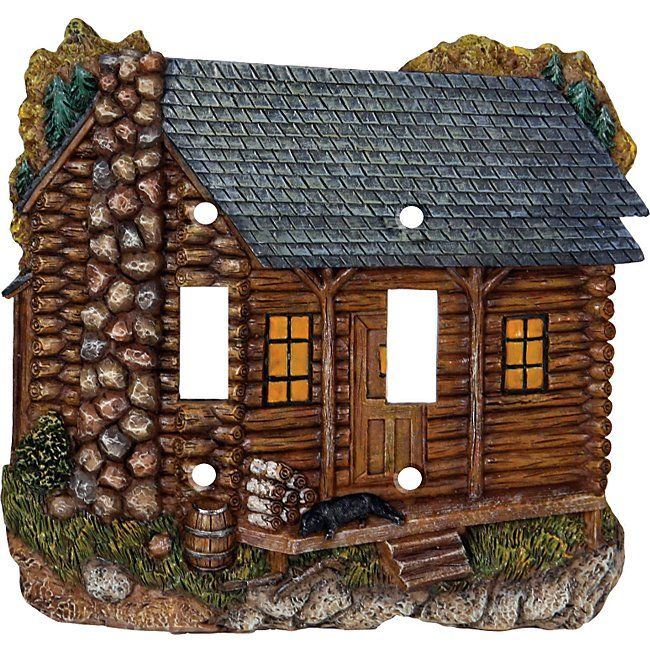 Log Cabin Double Switch Plate Cover Mom Had Many 3d