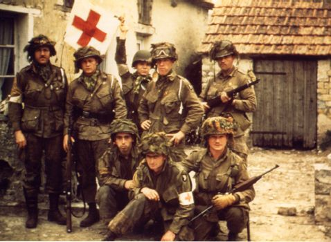 This is one of the amazing color Kodachrome slides taken by Captain (doctor) George Lage in Normandy. Lage was 2nd battalion surgeon of the 502 PIR, and he posed here with some of his medics.  Taken in September, 1944.