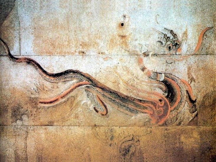 청룡-강서대묘 사신도-푸른 용으로 상징되는 목(木)의 속성을 가진 사신(四神) 또는 사수(四獸)의 하나. 동서남북의 네 방위 중 동쪽을 지키는 수호신이다. 중국 고대의 방위도인 사신도(四神圖)에 나타나며, 고대 무덤의 현실(玄室) 동쪽 벽이나 관의 왼쪽에 그려진다.