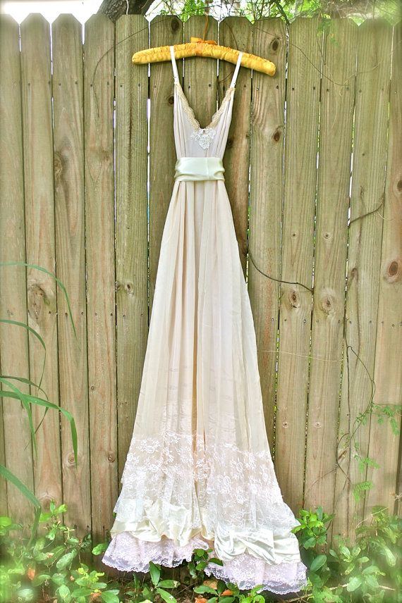 Custom boho wedding dress bohemian slip dress long for Wedding dress shops in oklahoma city