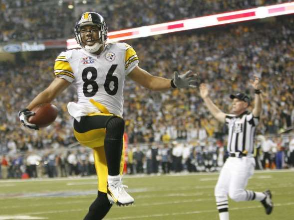 Super Bowl XL (Steelers 21, Seahawks 10):Pittsburgh Steelers wide receiver Hines Ward jumps in the a... - Daniel J. Powers, USA Today