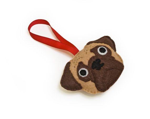 Pug Ornament by Sklep on Etsy Ready to ship Felt Holiday by sklep, $20.00