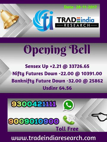 Stock Market #Openingbell #Sensex #Bank #Nifty  #equity #Commodity #stocks #market  #news  currency, depository, online #trading mutual funds. opening Bell Update  - 28th November 2017 By TradeIndia Research  https://goo.gl/3UPPZG