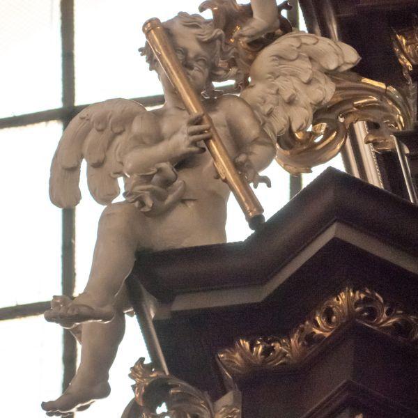 Angel Playing Baroque Bassoon, or Dulcian.  in St. Thomas Church, Brno, Czech Republic