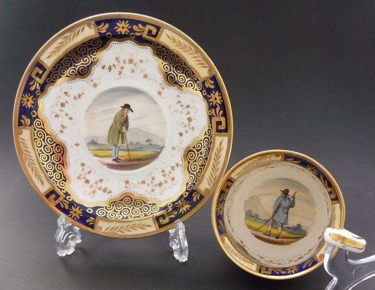 Hicks & Meigh, c. 1820 ヒックス & ミー 田園人物図のコーヒーカップ&ソーサー 1820年頃