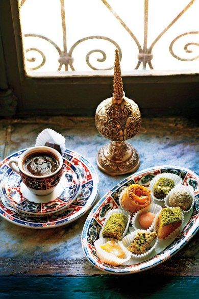 Honeyed sweets and Turkish coffee at Dar El Jeld, a restaurant in a centuries-old home in the Tunis medina. for more great ideas visit www.thepartyguide.co.uk