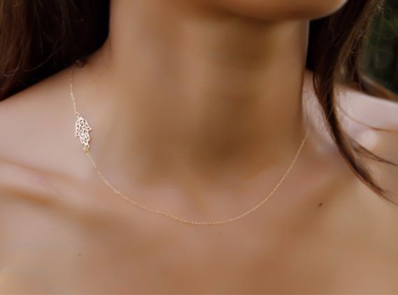 Hamsa necklace sideways14K gold filled hamsa gold hand by miniLALI