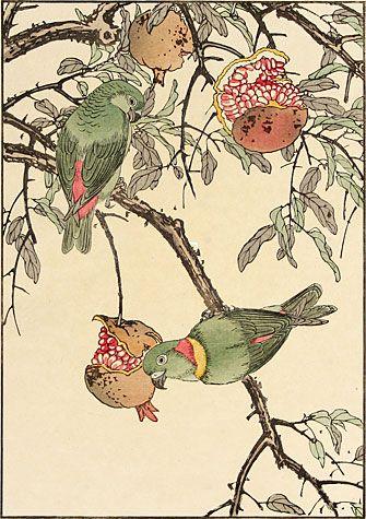 Imao Keinen - Pomegranate, Lovebird, 1891
