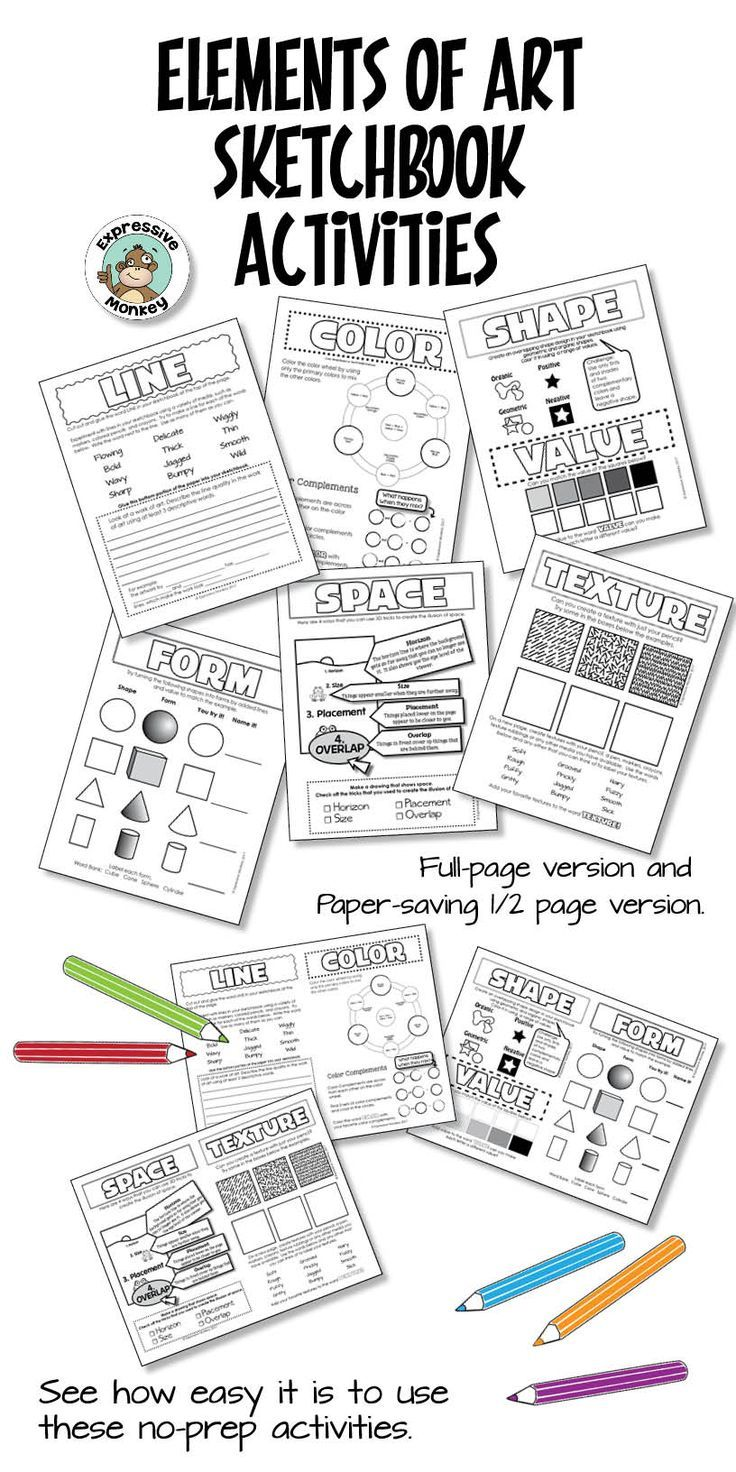 Teach The Elements Of Art With Ease Using These Sketchbook Activities They Make A Great Introduction Or Art Worksheets Art Lessons Elementary Art Sketchbook
